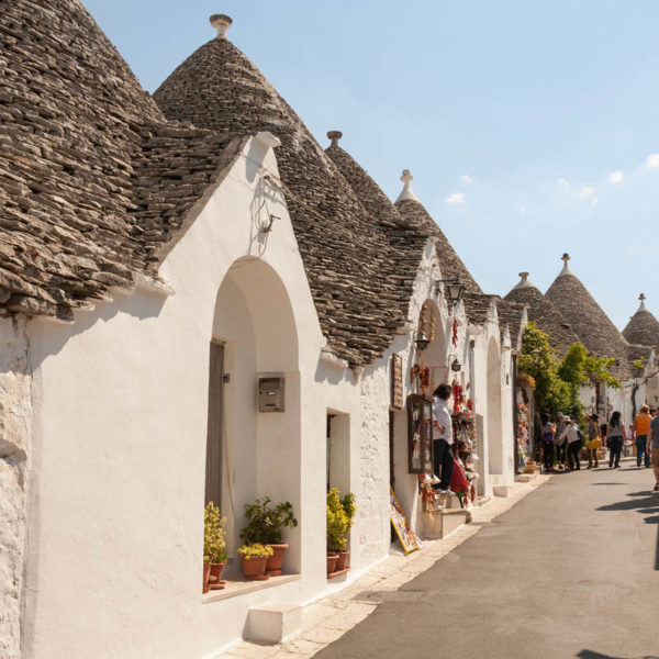 Trulli buildings and shops, Via Monte San Michele, Rione Monti, Alberobello, Bari province, Puglia region, Italy