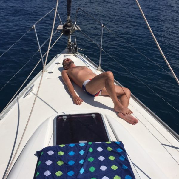 Catching a tan on deck
