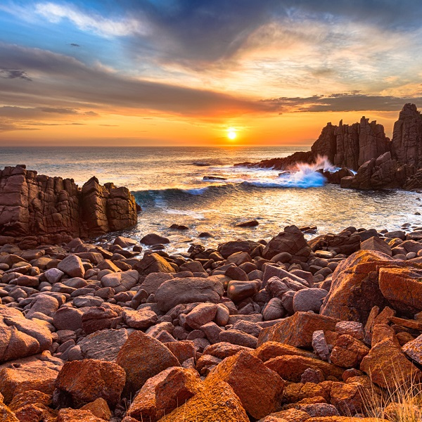Sun kissing the horizon at The Pinnacles on Phillip Island, Victoria, Australia